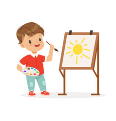 cute little boy painting sun on an easel kids vector image