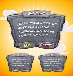 Cartoon stone agreement panel for ui game vector