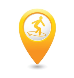 Surfing icon yellow map pointer vector