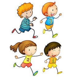 Simple kids running vector image