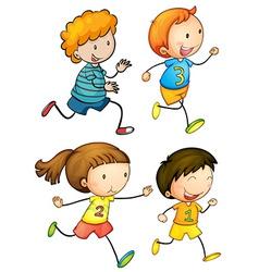 Simple kids running vector image