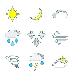 Colored outline weather forecast icons set vector