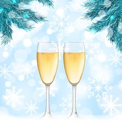 Winter holiday background with glasses of vector