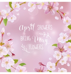 Cherry blossom spring card - with quote vector