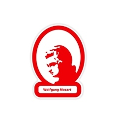 Paper sticker on white background wolfgang amadeus vector