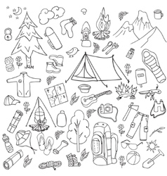 Recreation tourism and camping set hand drawn vector