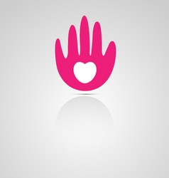Abstract hand and heart logo vector image vector image