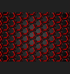 black and red hexagons abstract tech background vector image vector image