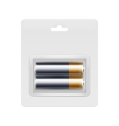 Black golden aa batteries in transparent blister vector
