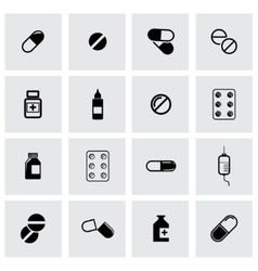 black pills icon set vector image