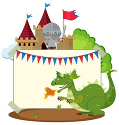 Border template with dragon and knight vector