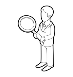 Businessman holding magnifying glass icon vector image vector image