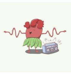 cartoon heart character dancing and smiling hands vector image