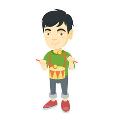 cheerful asian boy playing the dru vector image