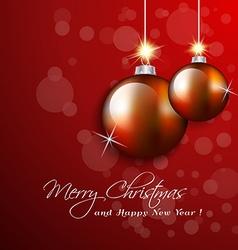 Christmas hanging balls ornaments greeting card vector image