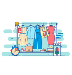 clothes shopping concept thin line vector image vector image