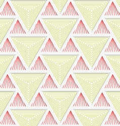 Colored 3D red and yellow striped triangles with vector image vector image