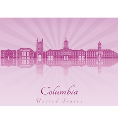 Columbia mo skyline in purple radiant orchid vector