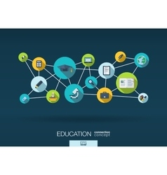 Education network background with integrate flat vector