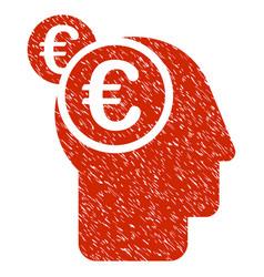 Euro businessman intellect icon grunge watermark vector