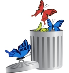 Flying object in trash bin-06 vector image vector image
