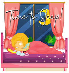 girl in bed with phrase time to sleep vector image vector image