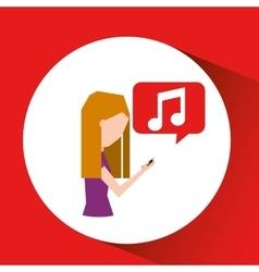 girl listen music smartphone walking vector image vector image
