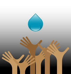 Group of raised hands with water vector