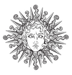 hand drawn antique style sun with face of apollo vector image