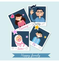 Happy family set of polaroid photo frames vector