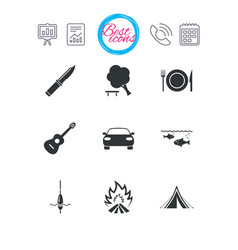 Hike trip camping icons fishing tourist tent vector