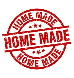 Home made round red grunge stamp vector