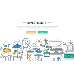 Investments line flat design banner with female vector image