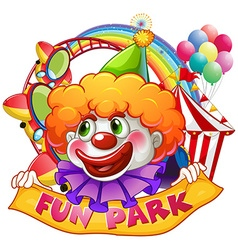 Jester with fun park sign vector