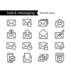 Mail thin line icons messaging and newsletter vector image