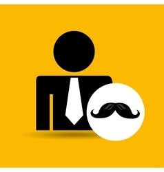 Man silhouette business and moustache design icon vector