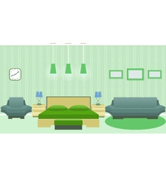 Modern bedroom interior with furniture vector