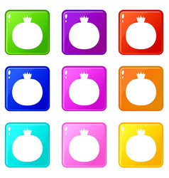 Ripe pomegranate icons 9 set vector