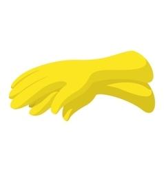 Rubber yellow gloves cartoon icon vector image