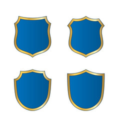 Shield gold blue icons set shape emblem vector