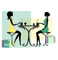 Silhouette of two fashionable shopping women vector image
