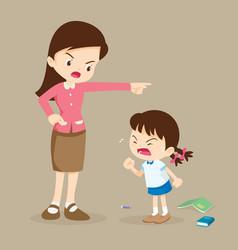 Teacher scolding student girl rampage vector