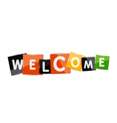 Welcome word with each letter on separate square vector image vector image