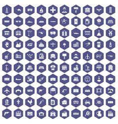 100 industry icons hexagon purple vector