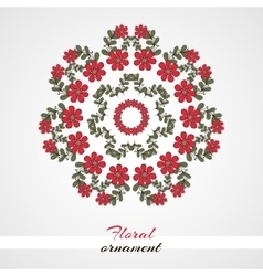 Round ornament red flowers vector