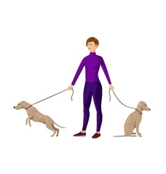 young slim girl keeping two dogs on leads vector image