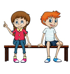 A boy and a girl sitting on a bench vector