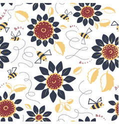Decorative sunflowers with bees seamless pattern vector