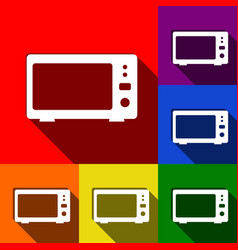 microwave sign set of icons vector image