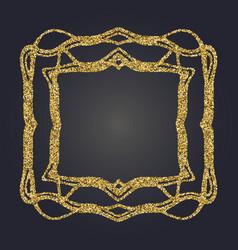 Art nouveau gold glitter decorative rectangle vector